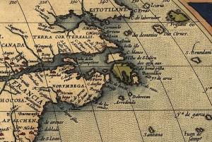 Carte représentant le Nord-Est de l'Amérique. Atlas d'Abraham Ortelius, à partir de 1570.