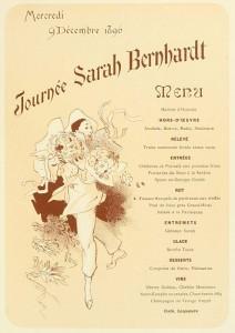 Menu pour la Journée Sarah Bernhardt